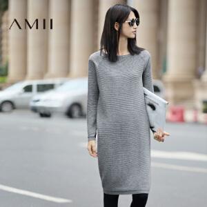 【AMII超级大牌日】[极简主义]2017年春装新款圆领宽松针织连衣裙女长袖11673286