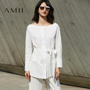 【预售】Amii2017春细吊带一字领暗门襟配腰带全棉衬衫11780211