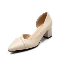 O'SHELL欧希尔春季上新008-1506韩版粗跟高跟尖头女士单鞋