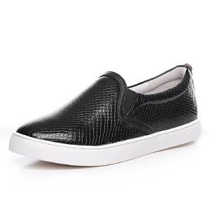 milkroses 时尚钻钉装饰蛇纹低帮鞋