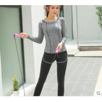 假两件裤套头上衣柔软舒适运动服跑步衣速干长袖健身服瑜伽服女连帽套装