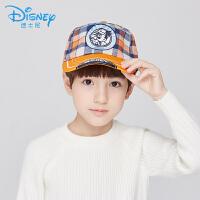 迪士尼帽子米奇棒球帽格子卡通儿童鸭舌帽米奇帽