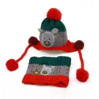 女宝宝帽子秋冬女童帽子围巾手套套装4-8岁儿童围脖两件套