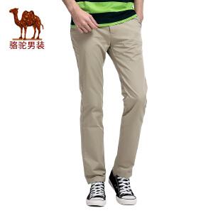 骆驼&熊猫联名系列男装时尚纯棉直筒商务休闲长裤子纯色休闲裤男