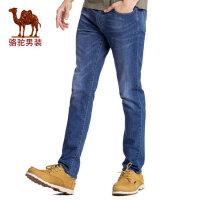 camel骆驼男装 2017春季新款 时尚青年棉质长裤子 商务休闲直筒牛仔裤男款