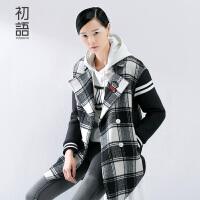 初语 潮牌新款冬装直筒毛呢中长款 格纹撞色呢大衣女 8531224029