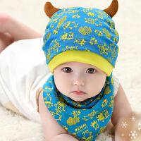 货到付款 Yinbeler二件套3-24个月萌怪兽胎帽棉帽宝宝帽子春秋冬款儿童婴儿套头帽三角巾口水巾围巾套装