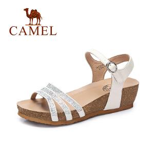 Camel/骆驼女鞋 2017春夏新款 时尚镶钻防水台坡跟一字扣百搭凉鞋