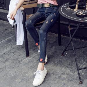 2017春夏秋款新款牛仔裤女长裤高弹力紧身小脚裤韩版学生显瘦铅笔裤YC0802