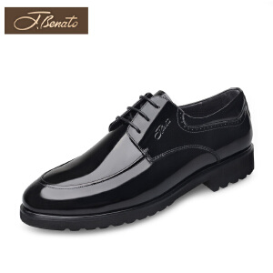 宾度男鞋春季商务正装皮鞋耐磨德比鞋漆皮亮面皮鞋青年英伦男婚鞋