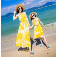 夏装新款雪纺连衣裙波西米亚沙滩裙亲子装海边度假旅游母女装  可礼品卡支付