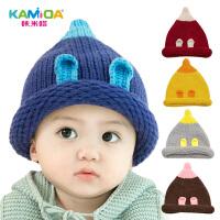 咔米嗒韩版男女童帽子秋冬婴儿帽子6-12个月儿童保暖毛线帽冬天潮