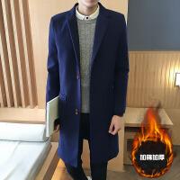 男士韩版修身时尚风衣冬季加棉加厚呢大衣中长款呢子风衣外套潮