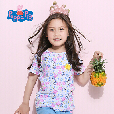小猪佩奇正版授权童装夏季新品女童短袖T恤满印小猪上衣