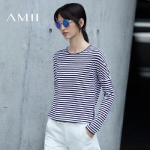 【AMII超级大牌日】[极简主义]2017年春新款简约休闲圆领长袖细条纹T恤女11682890