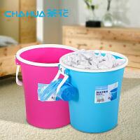 茶花塑料垃圾桶收纳桶杂物桶无盖超厚实卫生桶家用两个装