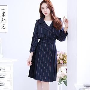 一米阳光2017春季新款韩版条纹风衣女中长款收腰复古百褶外套