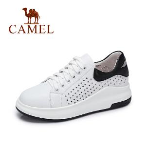 Camel/骆驼女鞋 2017春夏新款厚底镂鞋 休闲百搭运动透气小白鞋