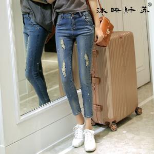夏季牛仔九分裤女士小脚裤弹力休闲显瘦韩版潮流时尚铅笔裤WM725