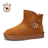 骆骆驼牌男靴子 冬季舒适保暖男女鞋靴雪地靴套脚加绒情侣款休闲