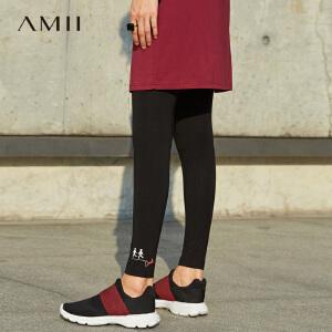 Amii[极简主义] 2017春橡筋腰修身脚口印花打底裤11740147