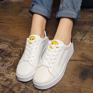 新品时尚低帮女鞋潮鞋女式韩版小白鞋笑脸拼色乐福鞋板鞋厚底内增高学生鞋