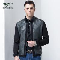 七匹狼夹克2017春季新品时尚针织拼接款男立领茄克jacket男装外套男