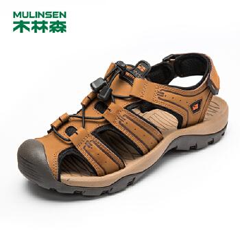 木林森男凉鞋 包头系带户外运动休闲男鞋 夏季真皮透气耐磨沙滩鞋21522072