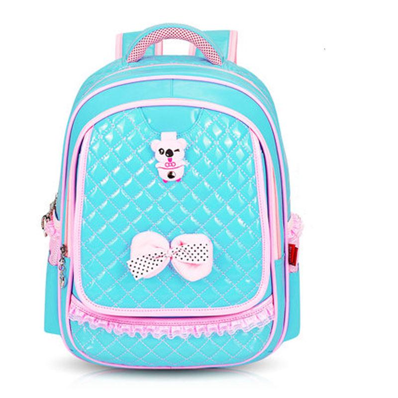 公主儿童书包小学生2-3-4-5年级减负双肩pu皮防水女孩背包