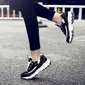 奇安达2017新款经典女士黑银跑步鞋休闲增高熊猫鞋