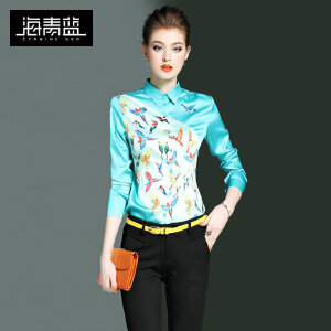 海青蓝2017春装新款欧美时尚复古印花长袖衬衣OL通勤衬衫女装0210