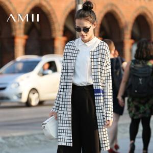 【AMII超级大牌日】[极简主义]2017年春季新款撞色格子针织毛衣开衫外套女11682192