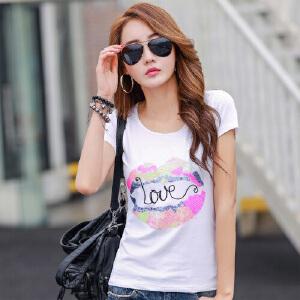 2017夏装新款韩版白色短袖T恤纯棉修身女装半袖小衫夏季体恤上衣WK0639