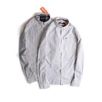 Superdry/极度干燥 春季新款扣领纯棉修身蓝白条纹黑白条纹长袖衬衣M40006ONF4
