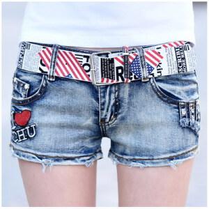 【当当年中庆】2017新款牛仔短裤个性绣花时尚毛边弹力包臀牛仔热裤