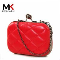 莫尔克(MERKEL)新款时尚菱格女士晚宴包红色新娘包单肩斜跨链条迷你小时装包