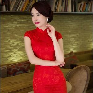【当当年中庆】2017新款日常改良旗袍少女提花棉修身显瘦绣花旗袍
