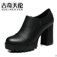 高跟鞋粗跟黑色古奇天伦春季新款韩版百搭英伦风女鞋皮鞋单鞋8142