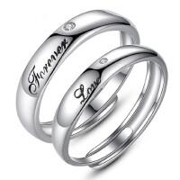 情侣戒指一对刻字活口S925纯银简约尾戒个性指环开口饰品男女对戒