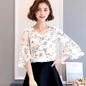 2017雪纺衫女短袖夏季新款上衣百搭修身喇叭袖印花小衫