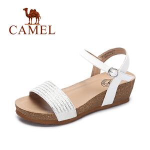camel骆驼女鞋 2017春夏季新款 坡跟凉鞋 夏天女士水钻时尚百搭高跟鞋子