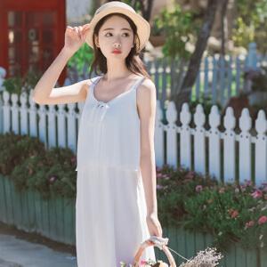 【当当年中庆】波柏龙2017春季新装文艺吊带连衣裙