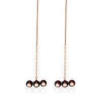 925银红色石榴石耳钉纯银女个性珍珠耳线长款气质耳环气质