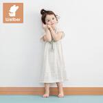 威尔贝鲁(WELLBER)婴儿睡袍春秋女童竹棉纱布短袖睡衣薄款公主风宝宝睡裙