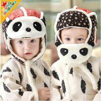 男女童帽子 男女宝宝韩版帽 婴儿帽子宝宝口罩雷锋帽熊猫男女童加绒护耳帽儿童保暖
