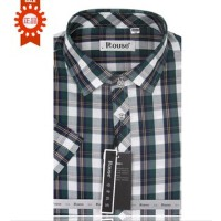 Rouse洛兹男正品 夏款 商务休闲短袖格子衬衫修身版 DC360032