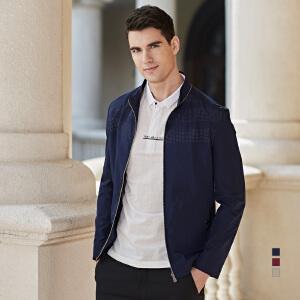 才子男装(TRIES)夹克 男士2017年新款纯色立领简约时尚休闲夹克外套