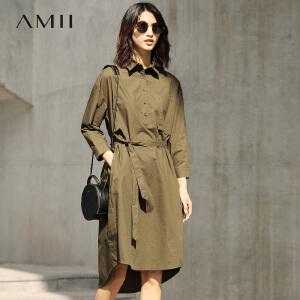 Amii[极简主义]2017春女纯色长袖绑带大码纯棉衬衫连衣裙11740789