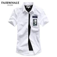 马克华菲短袖衬衫男士2017夏季新款休闲纯棉修身半袖衬衣上衣潮