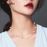 925银饰天然珍珠项链 女短款锁骨链正圆颈链脖子链日韩国版配饰品